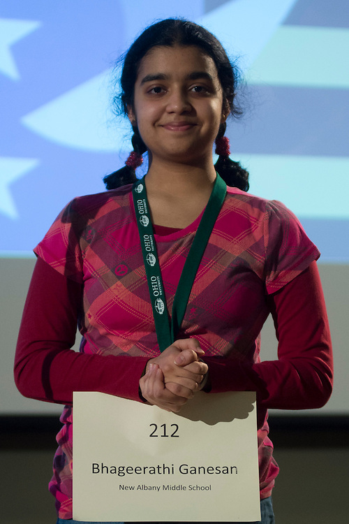 Bhageerathi Ganesan of New Albany Middle School introduces herself during the Columbus Metro Regional Spelling Bee Regional Saturday, March 16, 2013. The Regional Spelling Bee was sponsored by Ohio University's Scripps College of Communication and held in Margaret M. Walter Hall on OU's main campus.