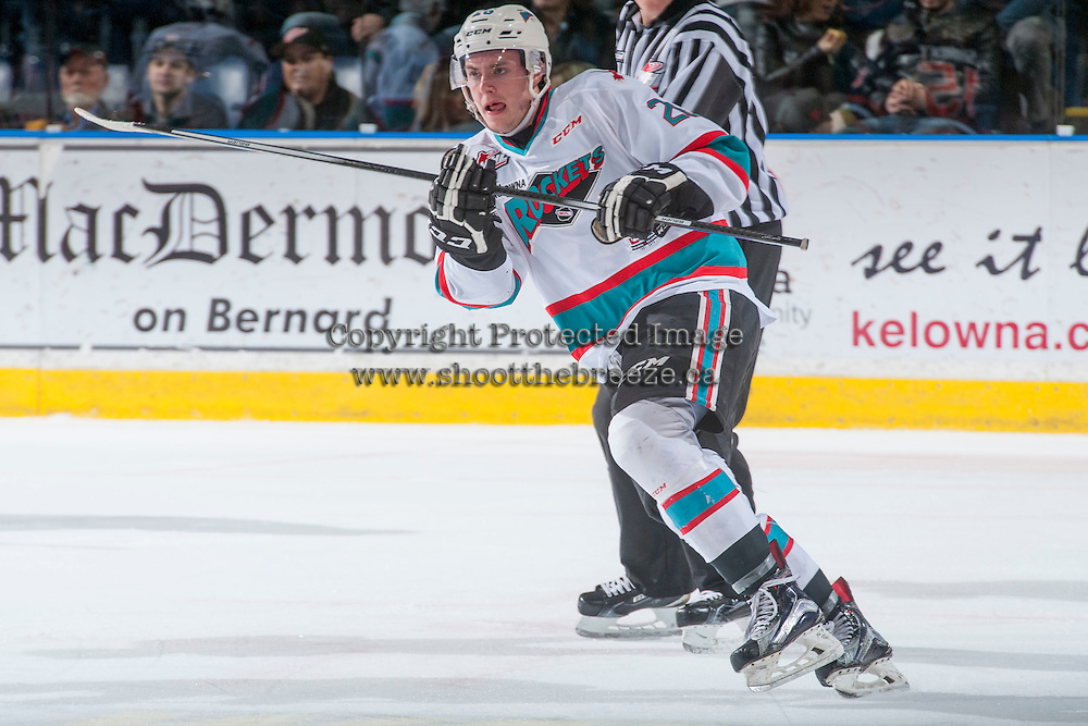 KELOWNA, CANADA - MARCH 5: Cole Linaker #26 of Kelowna Rockets skates against the Kamloops Blazers on March 5, 2016 at Prospera Place in Kelowna, British Columbia, Canada.  (Photo by Marissa Baecker/Shoot the Breeze)  *** Local Caption *** Cole Linaker;