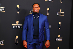 February 2, 2019 - Atlanta, GA, U.S. - ATLANTA, GA - FEBRUARY 02:  Carlos Watkins  poses for photos on the red carpet at the NFL Honors on February 2, 2019 at the Fox Theatre in Atlanta, GA. (Photo by Rich Graessle/Icon Sportswire) (Credit Image: © Rich Graessle/Icon SMI via ZUMA Press)