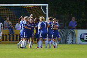 Chelsea Ladies celebrate Chelsea Ladies defender Claire Rafferty's goal during the FA Women's Super League match between Chelsea Ladies FC and Notts County Ladies FC at Staines Town FC, Staines, United Kingdom on 6 September 2015. Photo by Mark Davies.