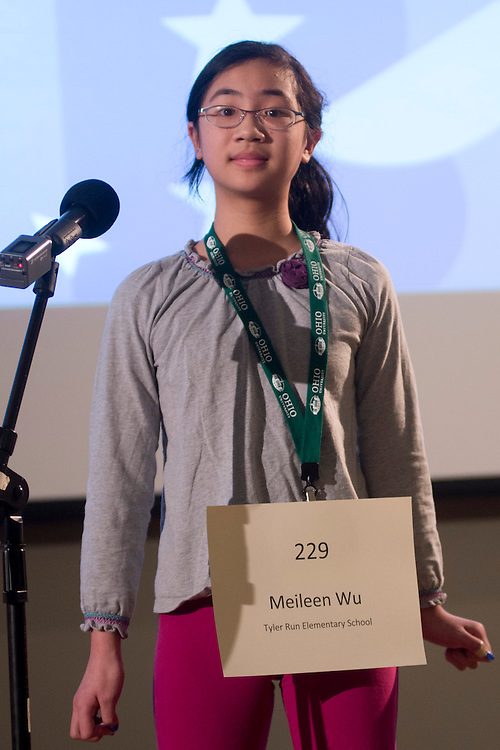 Meileen Wu of Tyler Run Elementary School introduces herself during the Columbus Metro Regional Spelling Bee Regional Saturday, March 16, 2013. The Regional Spelling Bee was sponsored by Ohio University's Scripps College of Communication and held in Margaret M. Walter Hall on OU's main campus.