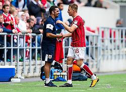 Bristol City Kit Man Scotty Murray congratulates goalscorer Cauley Woodrow as he is substituted - Rogan/JMP - 16/09/2017 - Ashton Gate Stadium - Bristol, England - Bristol City v Derby County - Sky Bet Championship.