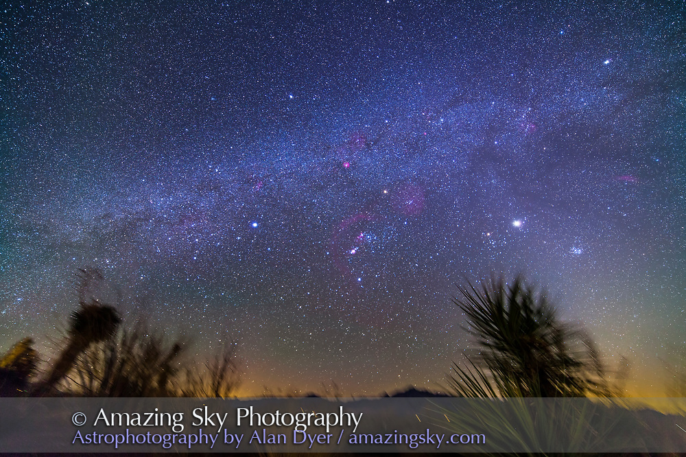 The northern winter Milky Way setting into the west. Taken from the Painted Pony Resort, New Mexico, March 10, 2013. This is a stack of 5 x 5 minute tracked exposures with the Samyang 14mm lens at f/2.8 and Canon 5D MkII at ISO 800. Used iOptron SkyTracker. Ground is from one exposure only.