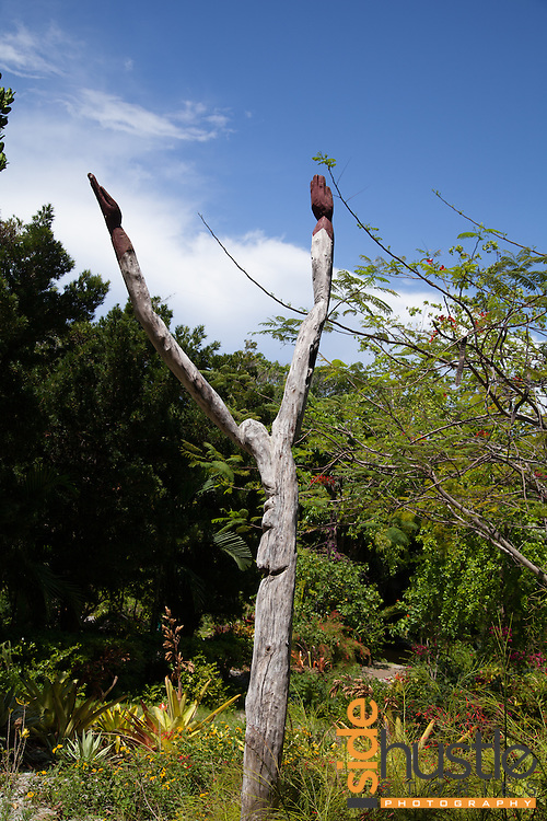 A memorial to the Lucayans, indigenous people of the Bahamas, inside the Garden of the Groves in Freeport, Grand Bahama.