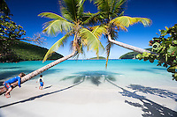 Vacation time as two little boys find a slice of heaven at Maho Bay beach on St. John, USVI.