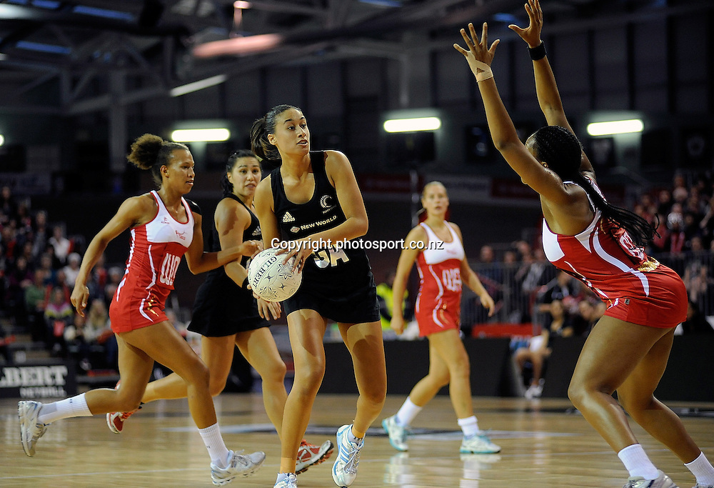 Maria Tutaia looks to pass, during New World Netball Series, New Zealand Silver Ferns v England at The ILT Velodrome, Invercargill, New Zealand. Thursday 6 October 2011 . Photo: Richard Hood photosport.co.nz