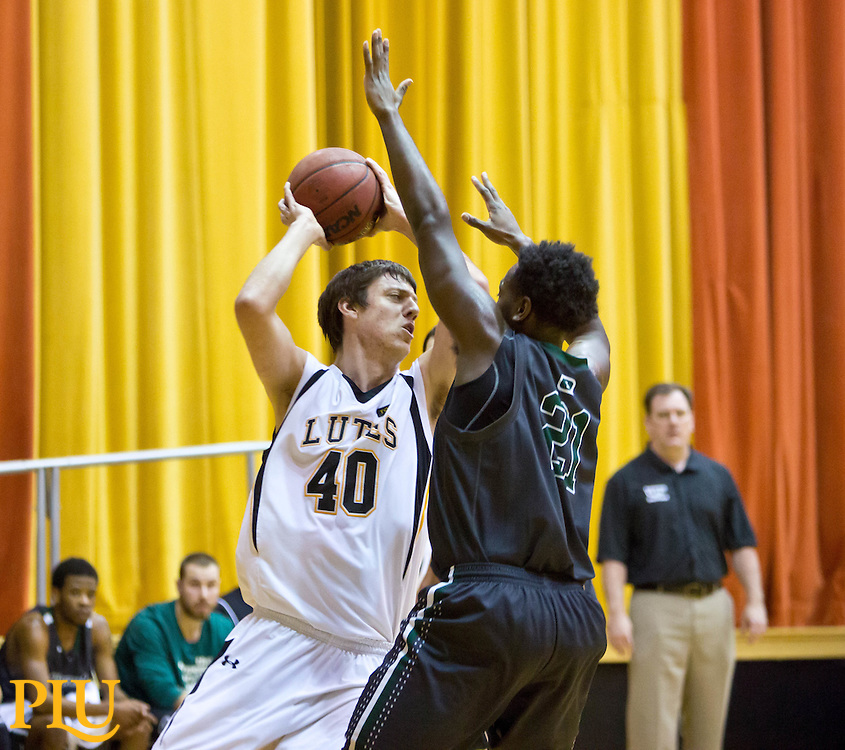 PLU Evergreen State on a men's basketball game on Wednesday, Dec. 10, 2014. (Photo/John Froschauer)