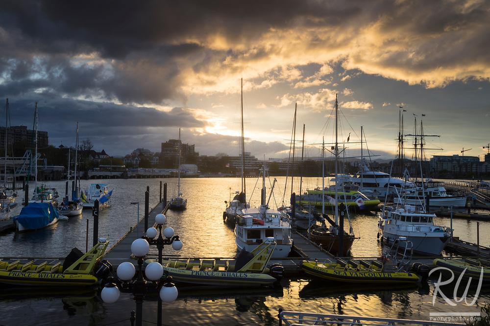 Inner Harbour Marina at Sunset, Victoria, B.C., Canada