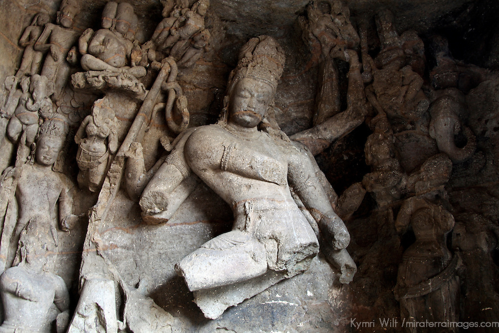 Asia, India, Mumbai. Elephanta Island Caves, a UNESCO World Heritage Site.