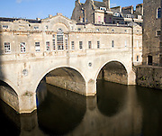 Pulteney Bridge on the River Avon, Bath, England
