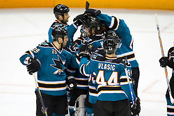 April 22, 2010; San Jose, CA, USA; San Jose Sharks celebrate after game five in the first round of the 2010 Stanley Cup Playoffs against the Colorado Avalanche at HP Pavilion. The Sharks defeated the Avalanche 5-0. Mandatory Credit: Jason O. Watson / US PRESSWIRE