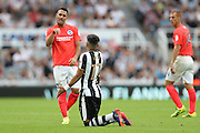 Brighton & Hove Albion's central midfielder Beram Kayal (7) accuses Newcastle United midfielder Ayoze Perez (17) of diving during the EFL Sky Bet Championship match between Newcastle United and Brighton and Hove Albion at St. James's Park, Newcastle, England on 27 August 2016.