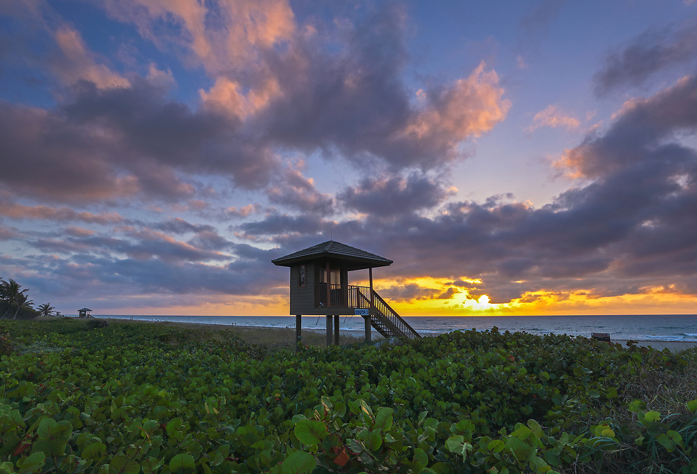 South Florida sunrise photography of a lifeguard tower on Delray Beach in Palm Beach County, FL. This Florida beach photography image is available as museum quality photography prints, canvas prints, acrylic prints or metal prints. Fine art prints may be framed and matted to the individual liking and decorating needs:<br />