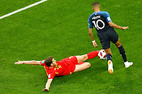 SAINT PETERSBURG, RUSSIA - JULY 10: Kylian Mbappe (R) of France national team and Jan Vertonghen of Belgium national team vie for the ball during the 2018 FIFA World Cup Russia Semi Final match between France and Belgium at Saint Petersburg Stadium on July 10, 2018 in Saint Petersburg, Russia. MB Media