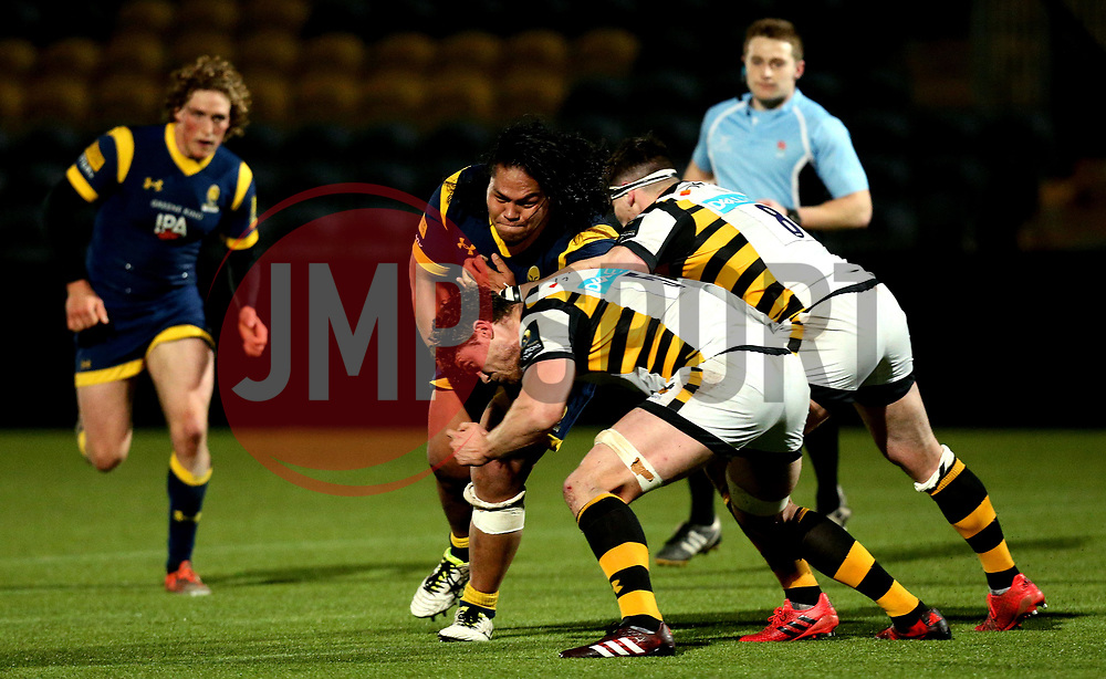 Na'ama Leleimalefaga of Worcester Cavaliers is tackled - Mandatory by-line: Robbie Stephenson/JMP - 03/04/2017 - RUGBY - Sixways Stadium - Worcester, England - Worcester Cavaliers v Wasps A - Aviva A League