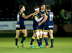 Worcester Warriors players console Jamie Shillcock of Worcester Warriors after his last minute kick goes just wide of the posts - Mandatory by-line: Robbie Stephenson/JMP - 18/11/2016 - RUGBY - Sixways Stadium - Worcester, England - Worcester Warriors v Northampton Saints - Aviva Premiership