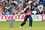 Chris Woakes of England attacks the bowling in the closing overs during the One Day International match between England and West Indies at the Brightside County Ground, Bristol, United Kingdom on 24 September 2017. Photo by Graham Hunt.