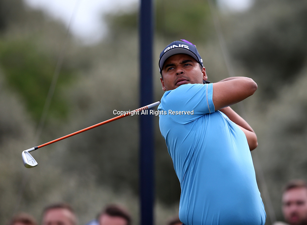 July 19th 2017, Royal Birkdale Golf Club, Southport, England; The 146th Open Golf Championship, Final Practice Day; Sebastian Munoz  (COL)  watches his tee shot on  the third hole