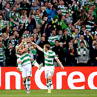 19/08/15 UEFA CHAMPIONS LEAGUE PLAY-OFF 1ST LEG<br /> CELTIC V MALMO<br /> CELTIC PARK - GLASGOW<br /> Nir Bitton celebrates his strike for Celtic.