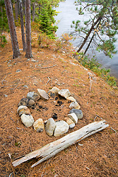 A fire ring on Hammer Island in Seboeis Lake.