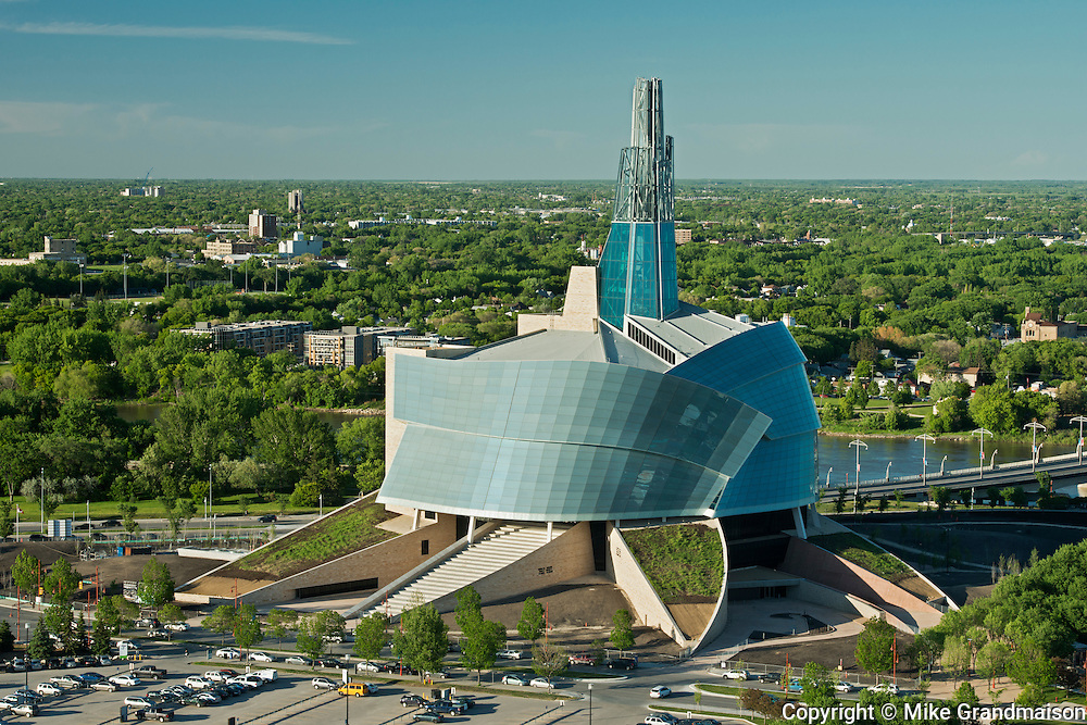 Aerial view of the Canadian Museum for Human Rights (CMHR) <br /> Winnipeg<br /> Manitoba<br /> Canada