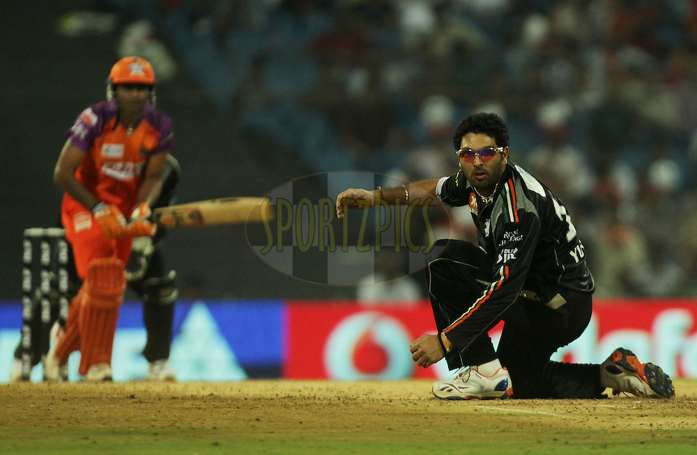 Pune Warriors captain Yuvraj Singh tries to fields during  match 10 of the Indian Premier League ( IPL ) Season 4 between the Pune Warriors and the Kochi Tuskers Kerala held at the Dr DY Patil Sports Academy, Mumbai India on the 13th April 2011..Photo by BCCI/SPORTZPICS