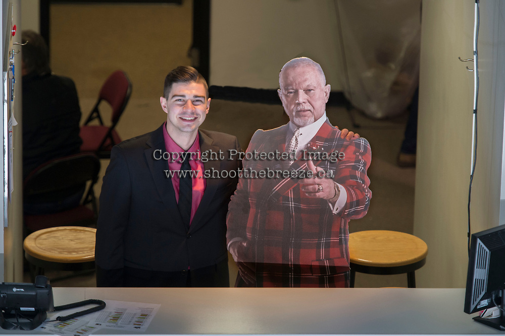 KELOWNA, CANADA - MARCH 3:  Kevin Bain and Don Cherry on March 3, 2018 at Prospera Place in Kelowna, British Columbia, Canada.  (Photo by Marissa Baecker/Shoot the Breeze)  *** Local Caption ***