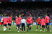 Barcelona forward Lionel Messi  (10) and Barcelona forward Luis Suarez (9) warm up during the Champions League quarter-final leg 2 of 2 match between Barcelona and Manchester United at Camp Nou, Barcelona, Spain on 16 April 2019.