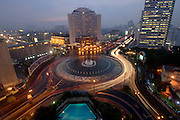 INDONESIA: Jakarta.Main traffic circle from the Mandarin-Oriental Hotel
