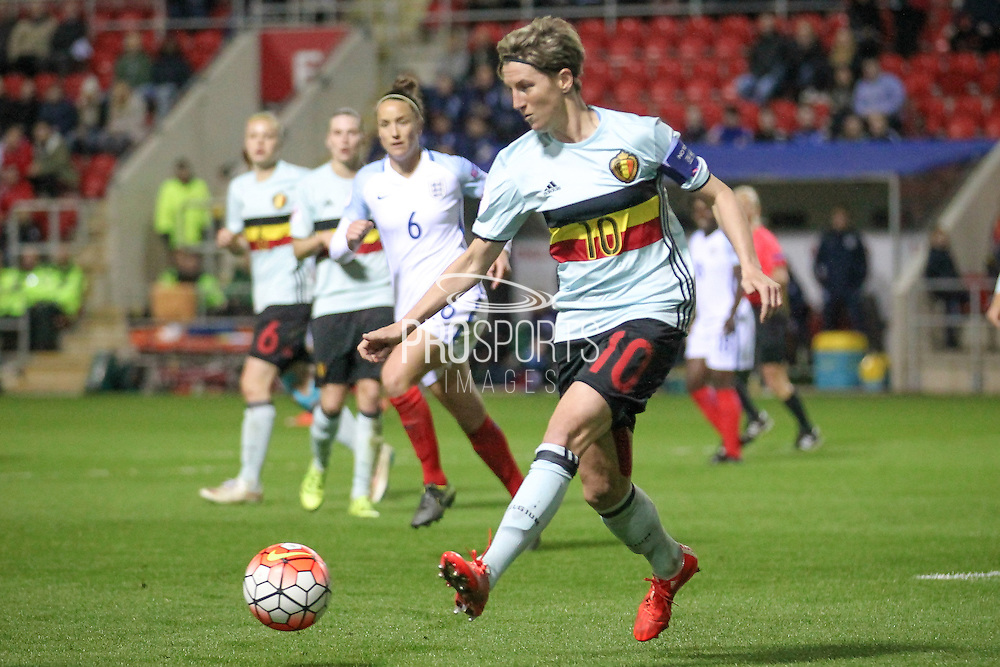 Aline Zeler (C) (Belgium) clears the ball during the final moments of the game during the Euro 2017 qualifier between England Ladies and Belgium Ladies at the New York Stadium, Rotherham, England on 8 April 2016. Photo by Mark P Doherty.