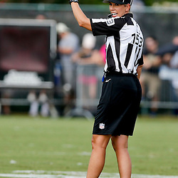 Aug 3, 2013; Metairie, LA, USA; NFL official female trainee Sarah Thomas during a scrimmage for the New Orleans Saints at the team training facility. Mandatory Credit: Derick E. Hingle-USA TODAY Sports