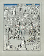 Facsimile of illustration from travels of legendary Sir John Mandeville, c1372. English knight. Central figures carry symbols of Christ's passion, a cross, a crown of thorns and vinegar-soaked sponge on stick.