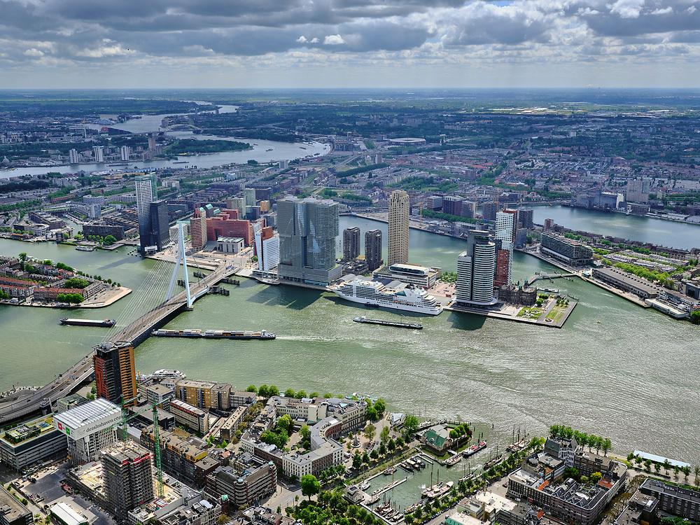Nederland, Zuid-Holland, Rotterdam, 14-05-2020; Rotterdam-Zuid, Kop van Zuid en Erasmusbrug, Wilhelminakade met cruiseschip Seabourn Ovation. In de voorgrond Veerhven. Katendrecht, Feijenoord in de achtergrond.<br /> Rotterdam South, Kop van Zuid and Erasmus Bridge, Wilhelminakade with cruise ship Seabourn Ovation. Katendrecht, Feijenoord in the background.<br /> <br /> luchtfoto (toeslag op standard tarieven);<br /> aerial photo (additional fee required)<br /> copyright © 2020 foto/photo Siebe Swart