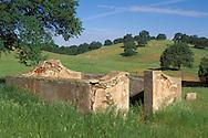 Historic gold rush settlement ruins of Indian Gulch, est. 1849, near Hornitos, Sierra Foothills, Mariposa County, California