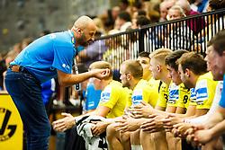 Zeljko Babic head coach of RK Gorenje Velenje with players of RK Gorenje Velenje during handball match between RK Gorenje Velenje and RK Celje Pivovarna Lasko in SEHA league, Round 1, on August 30th, 2017 in Rdeca Dvorana, Velenje, Slovenia. Photo by Grega Valancic/ Sportida