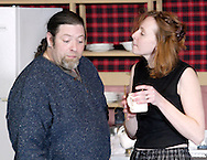 Troy Lindsey (left) and Megan Cooper during a dress rehearsal of Kimberly Akimbo at the Dayton Theatre Guild in Dayton, Tuesday, February 23, 2010.