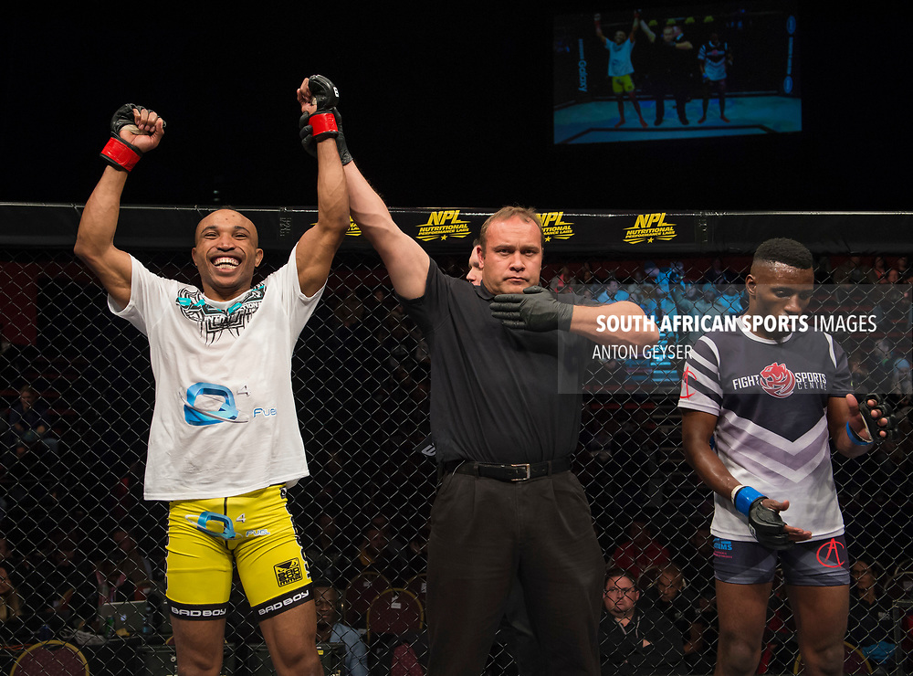 JOHANNESBURG, SOUTH AFRICA - MAY 13: Guy Mongambi celebrates after defeating TC Khusu during EFC 59 Fight Night at Carnival City on May 13, 2017 in Johannesburg, South Africa. (Photo by Anton Geyser/EFC Worldwide/Gallo Images)