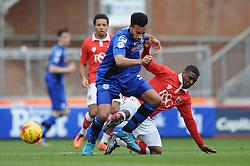 Bristol City's Kieran Agard challenges for the ball with Rochdale's Rhys Bennett - Photo mandatory by-line: Dougie Allward/JMP - Mobile: 07966 386802 - 28/02/2015 - SPORT - football - Bristol - Ashton Gate - Bristol City v Rochdale AFC - Sky Bet League One