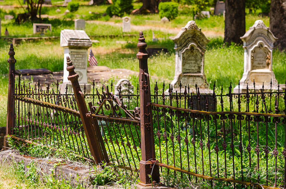 Tombstones in the Jacksonville Cemetery, Jacksonville, Oregon USA