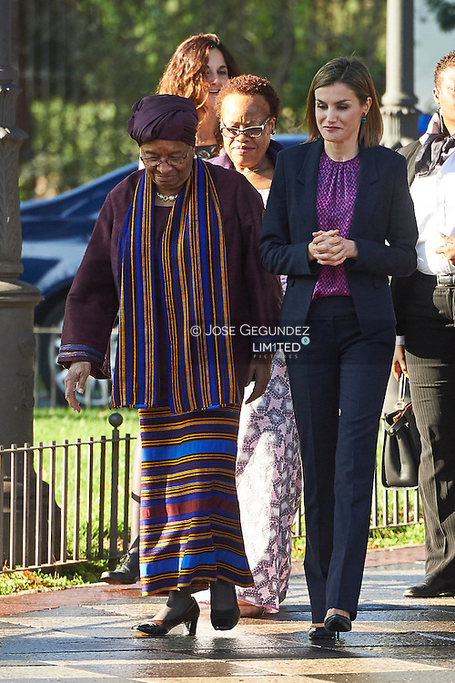 Queen Letizia of Spain, Ellen Johnson-Sirleaf, President of the Republic of Liberia attended Annual Meeting of the Board of the Foundation for Women in Africa at Jardines de Cecilio Rodriguez on November 16, 2015 in Madrid
