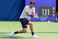 August 21, 2018 - Winston-Salem, NC, U.S. - WINSTON-SALEM, NC - AUGUST 21: Tommy Paul (USA) returns a volley against Steve Johnson (USA) during the Winston-Salem Open on August 21, 2018 at the Wake Forest Tennis Center in Winston-Salem, North Carolina. (Photo by William Howard/Icon Sportswire) (Credit Image: © William Howard/Icon SMI via ZUMA Press)
