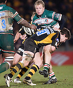 Wycombe, GREAT BRITAIN,   Tigers', Scott HAMILTON, tackled by Dominic WALDOUCK, during the Guinness Premiership rugby game, London Wasps vs Leicester Tigers at Adam's Park Stadium, Bucks, England, on Sun 15.02.2009. [Photo, Peter Spurrier/Intersport-images]