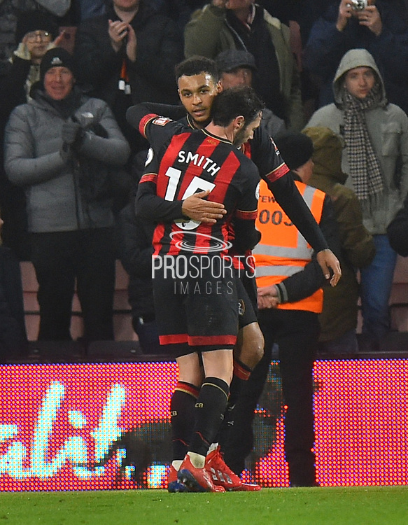 Goal - Joshua King (17) of AFC Bournemouth celebrates scoring a goal to give a 2-0 lead to the home team with Adam Smith (15) of AFC Bournemouth during the Premier League match between Bournemouth and West Ham United at the Vitality Stadium, Bournemouth, England on 19 January 2019.