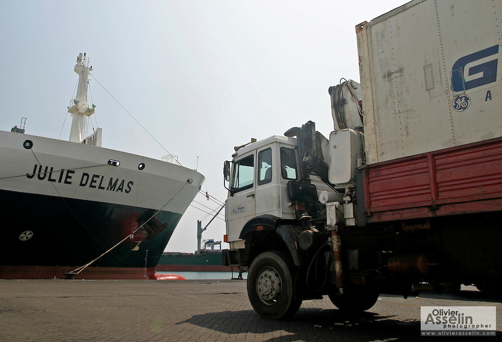 Truck at seaport in Tema, Ghana.
