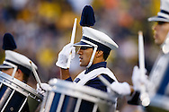 Oct 11, 2014; Ann Arbor, MI, USA; Penn State Nittany Lions band member performs before the game against the Michigan Wolverines at Michigan Stadium. Mandatory Credit: Rick Osentoski