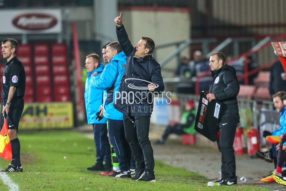 Forest Green Rovers manager, Mark Cooper during the Vanarama National League match between Wrexham FC and Forest Green Rovers at the Racecourse Ground, Wrexham, United Kingdom on 26 November 2016. Photo by Shane Healey.