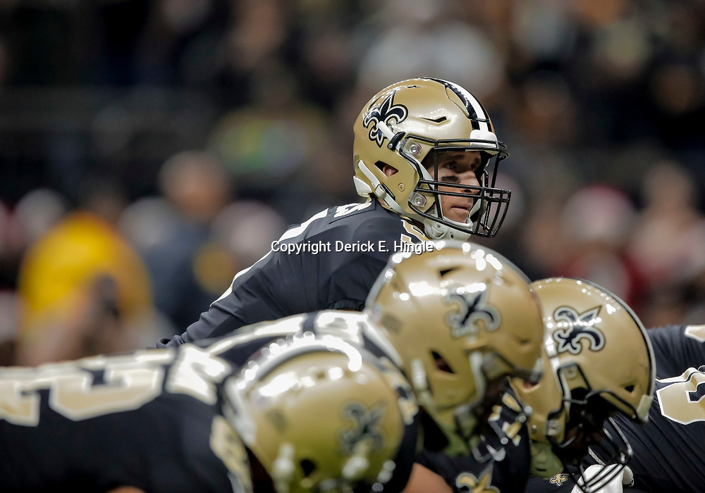 Dec 23, 2018; New Orleans, LA, USA; New Orleans Saints quarterback Drew Brees (9) at the line during the first quarter against the Pittsburgh Steelers at the Mercedes-Benz Superdome. Mandatory Credit: Derick E. Hingle-USA TODAY Sports
