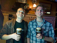 Pictured enjoying a premiere of the new Guinness advertisement, This is Rugby Country, which aired at an special viewing at O'Connell's Bar Eyre Sq. Galway, are Paul Lundy and Patrick Dwar from Newcastle , Galway . Guinness enjoys a long standing relationship with Irish rugby and has been a partner of the IRFU for over 20 years. The new advertisement features real people - not actors or models - and this is one of the key ingredients to the campaign.. Photo:Andrew Downes.