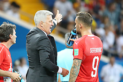 ROSTOV-ON-DON, June 17, 2018  Switzerland's head coach Vladimir Petkovic (2nd R) talks with Haris Seferovic (1st R) during a group E match between Brazil and Switzerland at the 2018 FIFA World Cup in Rostov-on-Don, Russia, June 17, 2018. (Credit Image: © Li Ming/Xinhua via ZUMA Wire)