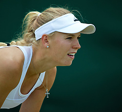 30.06.2014, All England Lawn Tennis Club, London, ENG, WTA Tour, Wimbledon, im Bild Caroline Wozniacki (DEN) during the Ladies' Singles 4th Round match on day seven // 15065000 during the Wimbledon Championships at the All England Lawn Tennis Club in London, Great Britain on 2014/06/30. EXPA Pictures © 2014, PhotoCredit: EXPA/ Propagandaphoto/ David Rawcliffe<br /> <br /> *****ATTENTION - OUT of ENG, GBR*****